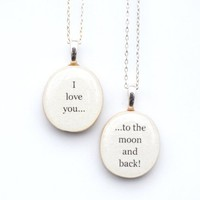 Mother daughter necklace set. I love you... to the moon and back.
