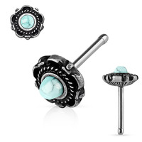 Turquoise Centered Silver Floral Design 316L Surgical Steel Nose Stud Rings 20ga