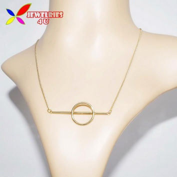 2016 New Fashion Designer Gold Silver Metal Opening Circle Stick False Collar Chokers Necklaces Pendants for Women Collares