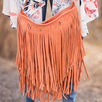 Wow-ing Real Suede Leather Fringe Purse In Apricot