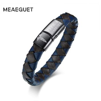Meaeguet 8 inch Medical Bracelet for Men Genuine Leather Free Engraved DIABETES Emergency Rescue