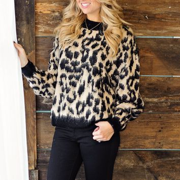 * Get On My Level Leopard Top: Taupe/Black