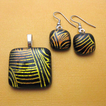 Lacey - Fused Glass Pendant and Earring Set, Pendant and Dangle Earrings, Black, Gold by mysassyglass