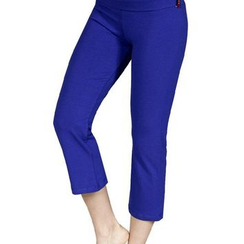 Capri Length Flare Bottom Fold Over Waistband Stretch Yoga Pants