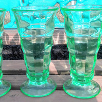 Vaseline Green Depression Era Malt Milk Shake or Soda Glasses/Tumblers