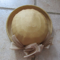 50s straw hat // chiffon trim // light brown by BlueFennel on Etsy