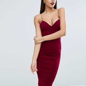 ASOS Scuba Deep Plunge Midi Bodycon Dress at asos.com