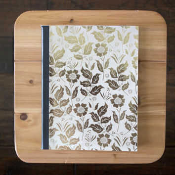 Gold Metallic Flower Composition Notebook // Pick Your own Stamp