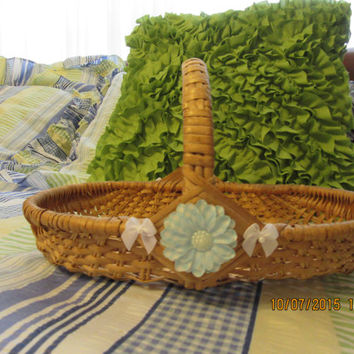 Medium Wicker Flat Flower Basket With Blue and White Accents - Up-Cycled and Cottage Chic