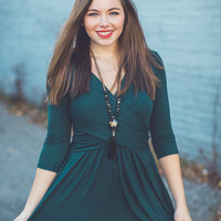 All Cinched Up Dress in Hunter Green