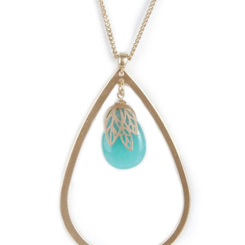 Aqua Stone Long Necklace