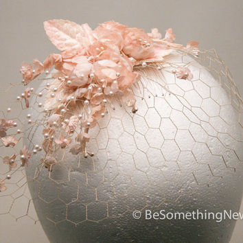 Blush birdcage with vintage flowers, wedding hair accessories