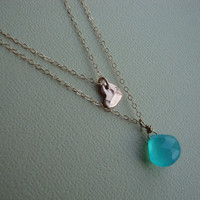 Double Layer Necklace - Vermeil Heart and teal Chalcedony - A Mermaid's Heart - gold filled - lovely gift, beautiful, chic