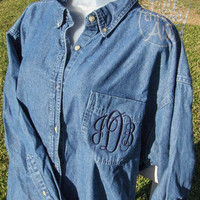 Monogram Ladies Denim Button Down Oxford Shirt with Pocket Sewn Closed