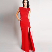 Bodycon Side Slit Fishtail Dress with Lace Accent