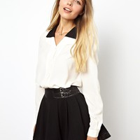 ASOS Blouse with Contrast Layered Collar - Cream $29.02