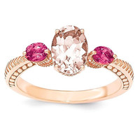 Sterling Silver Rose Gold-Plated Morganite & Tourmaline Ring
