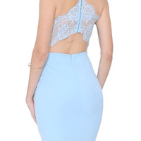 Charmed Lace Back Dress - Light Blue