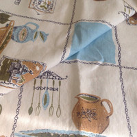 """Vintage Linen Tablecloth,Blue and White, Kitchen Utensils, Large, 62"""" by 48"""", Shabby Chic, Quilting Fabric, Vintage Kitchen, Table Cloth"""
