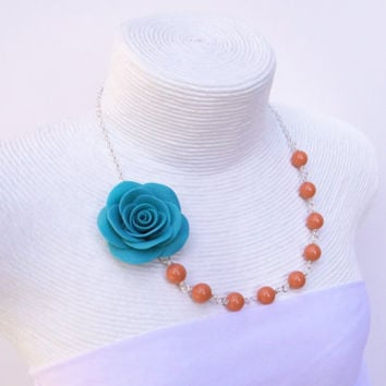 Blue Turquoise Rose Necklace, Coral Swarovski Pearl Necklace, Flower Necklace, Wedding Jewelry, Bridesmaid Necklace.