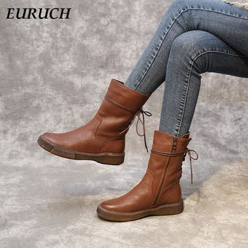 Fashion Snow Boot Fur Warm Winter Shoes Women ankle boots Shoes Genuine Leather Vintage Zip Ladies Motorcycle Boots felt boots