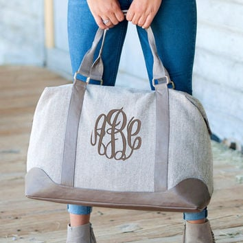 Large Monogrammed Herringbone Weekender Bag  font shown MASTER CIRCLE in Pewter