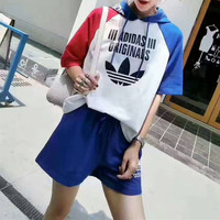 """""""Adidas"""" Fashion Casual Clover Letter Print Multicolor Short Sleeve Hooded Sweater Set Two-Piece Sportswear"""