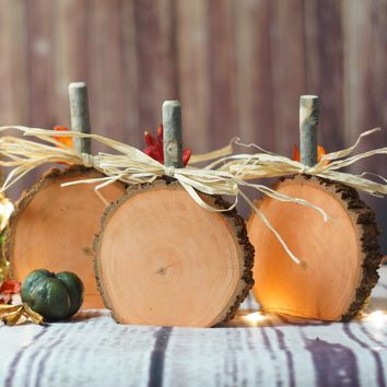 Log Slice Pumpkins, Rustic Halloween