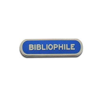 Bibliophile Enamel Pin in Blue and Silver
