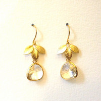Crystal Clear Earrings Diamond Clear Drop Earrings with Three Leaf Charms Crystal Clear Faceted Glass, Gold Bezel Set Dangle Earrings