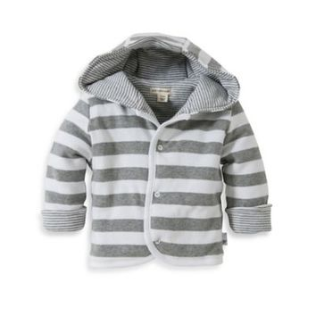 Burt's Bee's Baby™ Organic Cotton Reversible Quilted Jacket in Grey/White Stripe