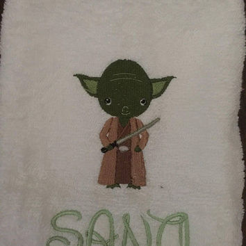 Yoda inspired hand rowel Star Wars inspired birthday gift