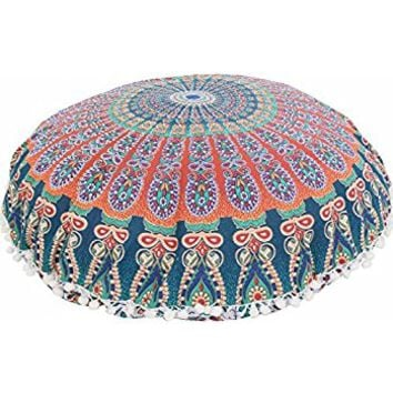 "Large 32"" Round Pillow Cover, Decorative Mandala Pillow Sham, Indian Bohemian Ottoman Poufs, Pom Pom Pillow Cases, Outdoor Cushion Cover (Pattern 6)"