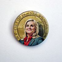 "Parks and Rec - Leslie Knope 1x1.5"" pinback button badge from Stickerama"