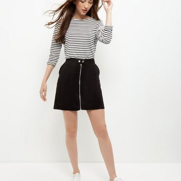 Black Suedette Zip Front Mini Skirt