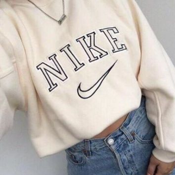 "Women Fashion ""NIKE"" Round Neck Top Sweater Pullover Sweatshirt [9240261959]"