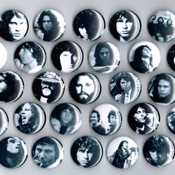 Jim Morrison The Doors One Inch Pin Back Pinback Button Badge Set of 29 Jimmy James Black and White 1""