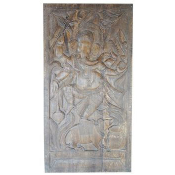 Mogul Antique Carved Wall Sculpture Ganesha Door Panel Grounding CHAKRA Zen Interior Design - Walmart.com