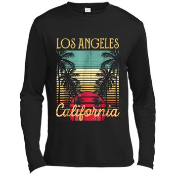 Los Angeles California Retro 70's Vintage Surf Tee  Long Sleeve Moisture Absorbing Shirt