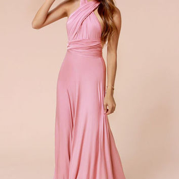 Halter Neckline Plated Mauve Cocktail Jersey Maxi Dress