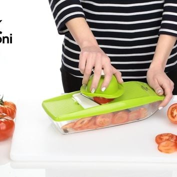 Mandoline Slicer - Vegetable Potato Slicer Grater - Cutter for Tomato, Onion, Cucumber, Zucchini Pasta, Cheese - Julienne Veggie Peeler Chopper - Vegetables Food Storage, 5 Blades and Hand Protector