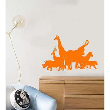 Vinyl Wall Decal African Wild Animals Silhouette Zoo Nursery Room Stickers (3957ig)