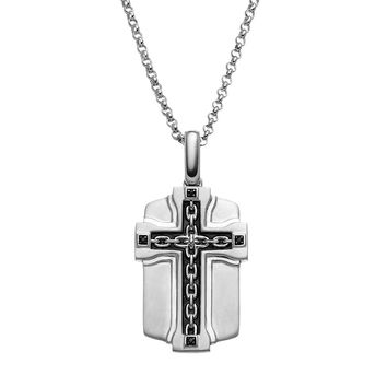 SilveRado™ for Mens Black Diamond Accent Sterling Silver Cross Link Dog Tag Necklace for Men