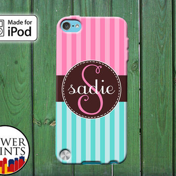 Pink and Blue Striped Tumblr Inspired Cute Custom Monogram for iPod Touch 4th Generation and iPod Touch 5th Generation Gen Plastic Rubber