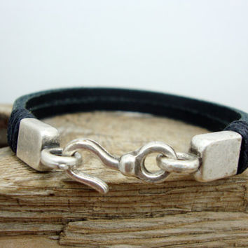 FREE SHIPPING - Men's Bracelet, Leather Men Bracelet, Men's Leather Bracelet, Black Leather and Silver Plated Clasp Bracele