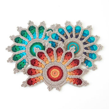 Crochet Peacock Tail Feather Coaster in firey colors - Original to The Curio Crafts Room