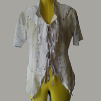 Elven White and Silver Tunic / Blouse made with 100% Silk