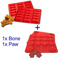 GYBest 2Pack Food Grade Large Mats Trays, Puppy Pets Dog Paws & Bones Silicone Baking Molds, Bake Dog Treats For Pets, Kids, Dog-lovers, Kitchen Tips