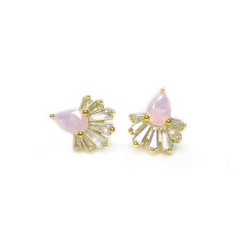 Pink Amethyst & Diamond Swan Lake Studs