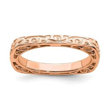 Sterling Silver Stackable Expressions Rose Gold Plated Square Ring